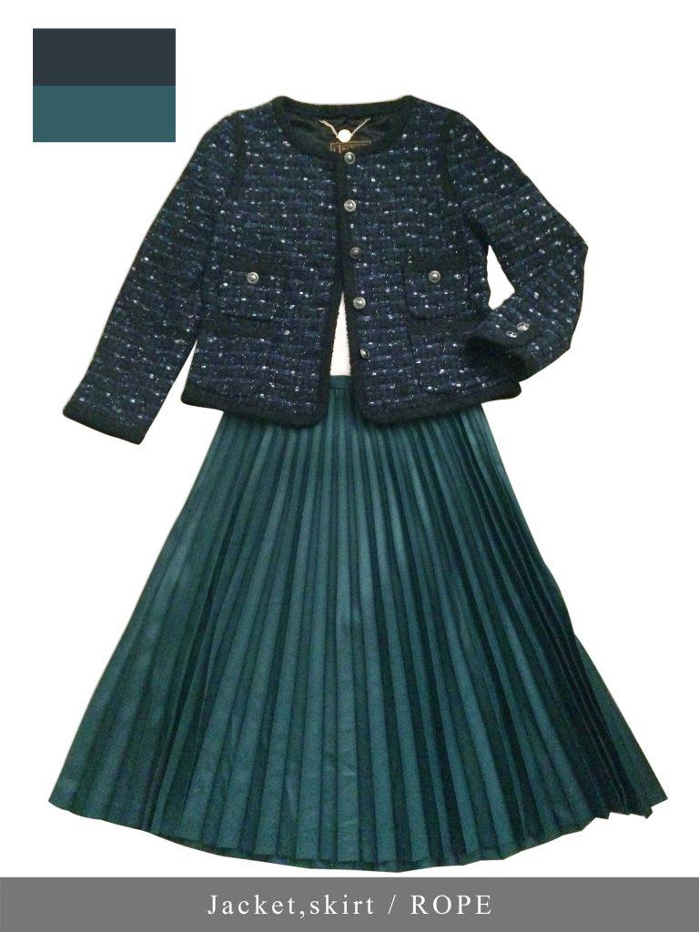 ロペのツイードジャケットとプリーツスカートのコーデ